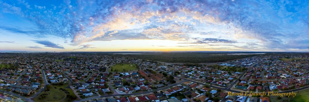 Panoramic Drone photograph of White Lakes at sunrise on 08/04/2020  Covid-19